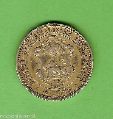 1891 German  East  Africa  Half  Rupee  Silver  Coin