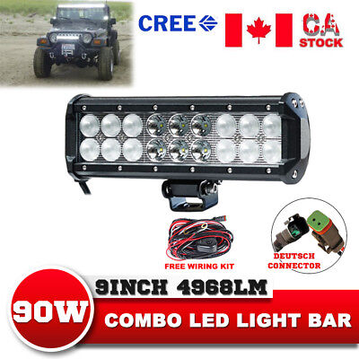 9inch 90W LED Flood Spot Combo Light Bar ATV JEEP Ford SUV Offroad Driving Lamp