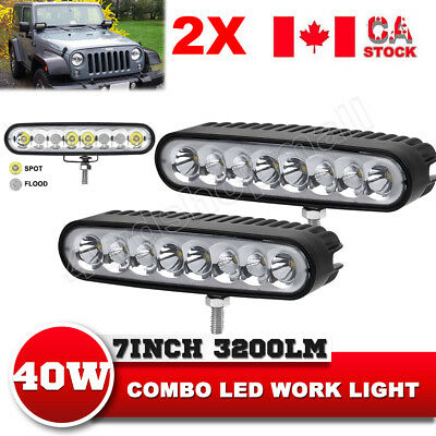 2X40W 7inch Ellip Beam Cree Led Work Light Bar Spot Flood Combo Offroad ATV