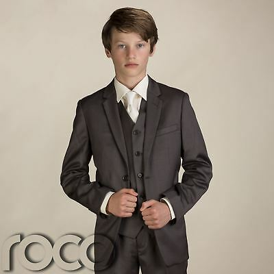 Boys Brown Wedding Suit, Boys Page Boy Suit, Boys 3 pc Suit, Boys Brown Suit