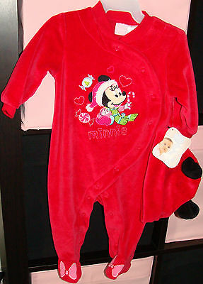 Disney Minnie Mouse Sleeper & Hat 2 Piece Set  Size 6 Months New With Tags ~ Dn