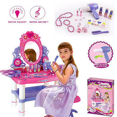 New Kids Xmas Dressing Table Toy Role Play Children Makeup Girls Vanity Gift Set
