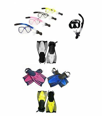 TYPHOON SILICONE Adult Mask Snorkel & Fins Flippers Snorkelling Dive Scuba Set