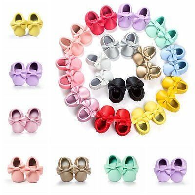 Baby Soft Sole Leather Crib Shoes Infant Boy Girl Toddler Tassel Moccasin 0-18M