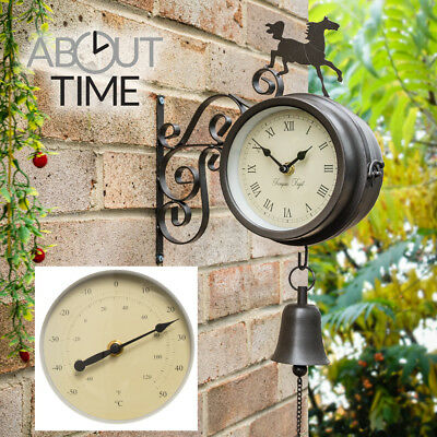 Horse Bell Outdoor Wall Clock Thermometer Garden Wall Station Bracket Black 15cm