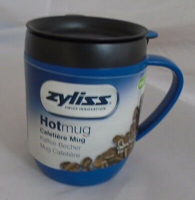 Zyliss Cafetiere Hot Mug One Cup Coffee Double Walled Splash Lid Blue Smart Cafe