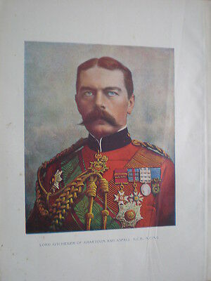 Lord Kitchener of Khartoum and Aspali 1898 old colour print