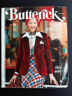 1975 BUTTERICK Store Counter Pattern Book Fashion Catalog November Vintage