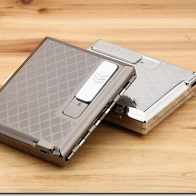 Fashion Zinc Alloy Cigarette Case With Rechargeable Windproof Flameless USB