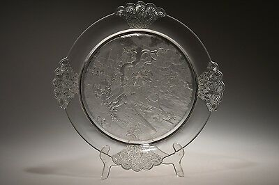 c. 1880's No. 2 PLUCK by Gillinder & Sons FROSTED CRYSTAL Bread Plate