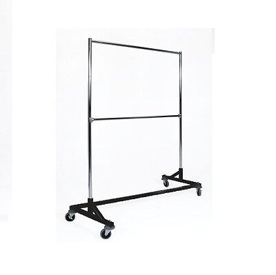 5 ft. Black Commercial Double Rail Rolling Z Rack Clothing Garment Clothes Racks