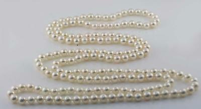 Endless 7mm Japanese Akoya Cultured Pearl Necklace 24 Inch Long natural color