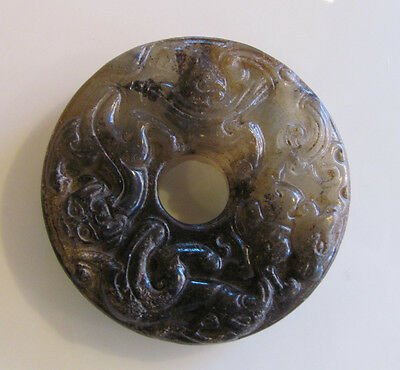 Antique Chinese Jade Carving Bi Disc