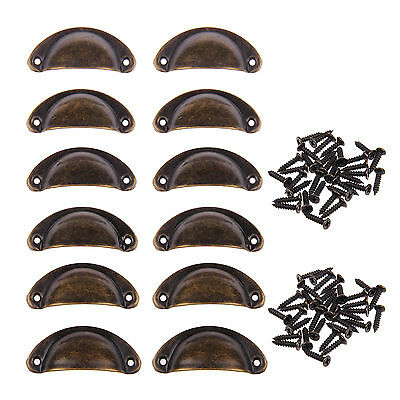 12x Kitchen Cupboard Cabinet Cup Drawer Furniture Shell Pull Iron Handle +Screws