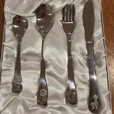Children's Four 4 Piece Animal Zoo Stainless Steel Cutlery Set Knife Fork Spoons