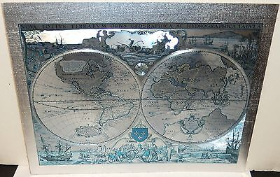 Nova Totivs Terrarvm Orbis Silver Foil Small Map Of The World