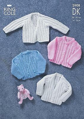 King Cole 2908 Knitting Pattern Baby Cardigans in King Cole DK