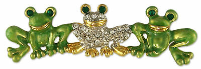 Triple Frog Green Crystal Rhinestone Brooch Pin MADE WITH SWAROVSKI ELEMENTS