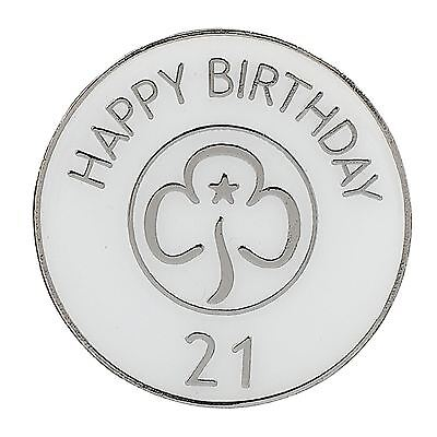 Guide Happy 21st Birthday Metal Badge Girlguiding