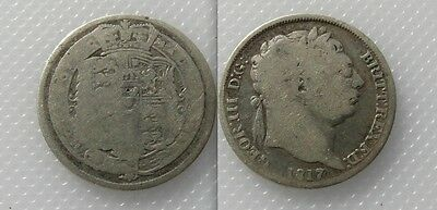 Collectable 1817 King George III Silver Sixpence
