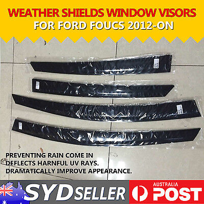 4PCS Car Premium Window Visors Rain Guard Weather Shields Ford Focus 2012 - 2016