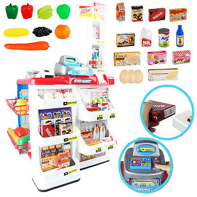Kids Supermarket Cash register Toy Role Play Grocery Shopping Stall Xmas Gift