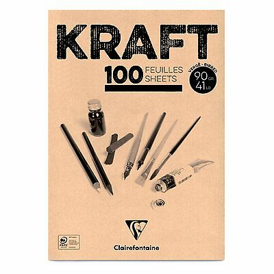 Clairefontaine Kraft Paper Pads. Artists Drawing Unbleached Brown Kraft Paper.