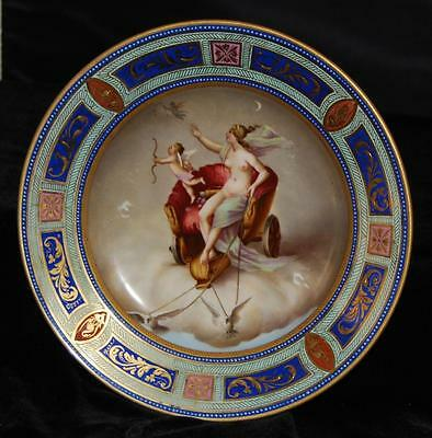 "Beautiful Antique Allegorical Royal Vienna Plate -""Amor Jagd die Zeit"" 9""D Cupid"