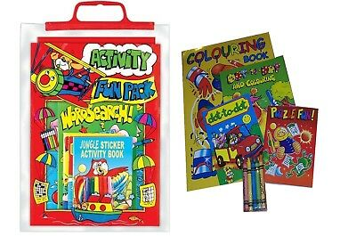 Red Activity Fun Pack Bag ~ Puzzles Magic Painting Word Search Colouring Book
