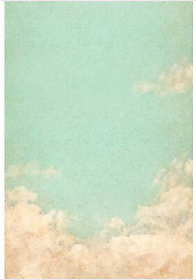 5x7FT Pale Green Sky White Clouds Custom Photo Studio Background Backdrop Vinyl