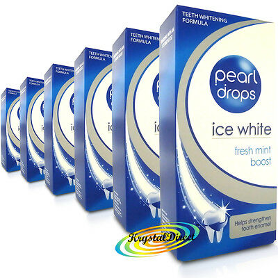 6x Pearl Drops Ice White Fresh Mint Boost Whitening Toothpolish Toothpaste 50ml