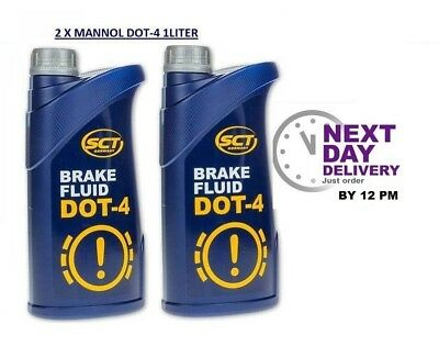 2 X MANNOL DOT 4 Quality SYNTHETIC BRAKE & CLUTCH FLUID 1LITRE SCT GERMANY
