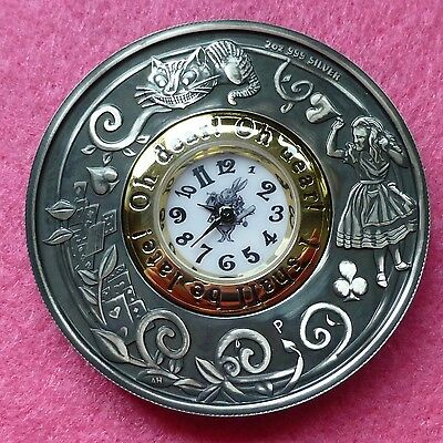 2015 TUVALU ALICE IN WONDERLAND $2  2oz  SILVER ANTIQUED  CLOCK COIN BOX AND COA