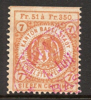Switzerland Basel Canton Early Issue Fine Used 7c. 081897
