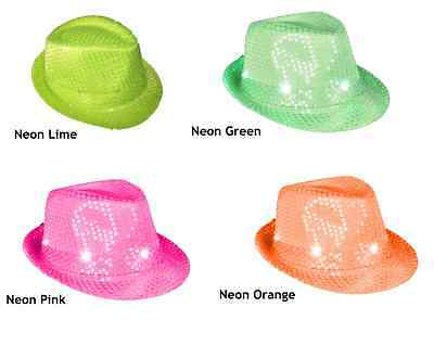573e312a659 FLASHING NEON GREEN Pimp Gangster Greens Brothers Fedora Hat Costume ...