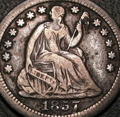 Old Us Coins Rare 1857 O Highgrade Liberty Seated Half Dime Beauty