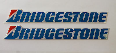 BRIDGESTONE Chrome Blue stickers - decals - 2 x  HIGH Gloss Gel Finish 150mm