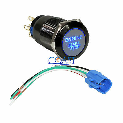 Durable 12V LED 19mm Blue Momentary Engine Start Push Button Switch & Plug