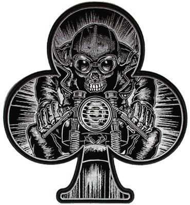 NEW Stunning Large Cafe Racer Ace of Spades Skeleton sew on Motorcycle Patch