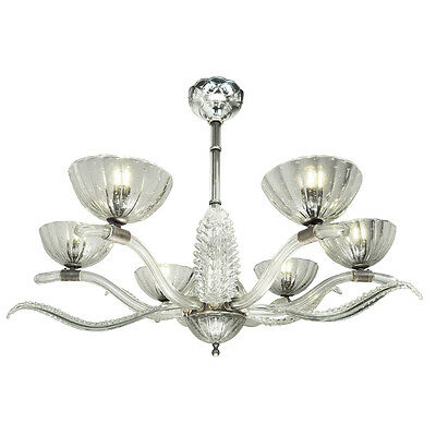 Art Deco Streamline Chandelier Antique French 6 Arm Glass 1930s Light (ANT-674)