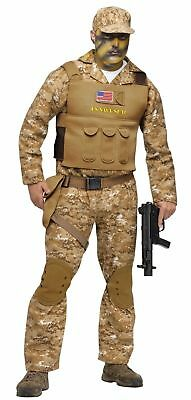 b2c4a529c10 Adult Army Soldier Military Uniform Navy Seal Camo Camouflage Mens Costume  NEW