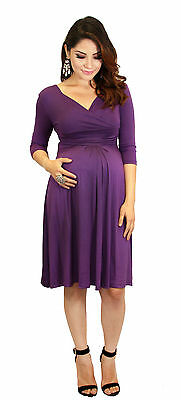 Purple  Maternity Dress Womens Fashionable Wear Pregnancy Clothes Long Sleeve