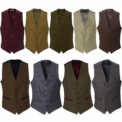 New Mens Wool Formal Tweed Check Moleskin Herringbone Waistcoat Vest Smart