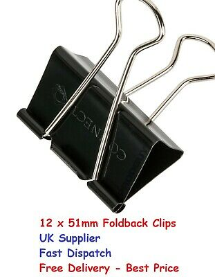 12 X Large 51mm Black Steel Foldback Office Clips Paper Document Bulldog Metal00