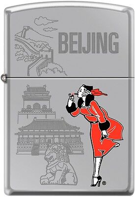 Zippo Windy Girl Traveling Cities Beijing High Polish Chrome New Rare