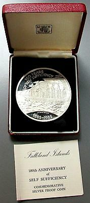 1985 SILVER FALKLAND ISLANDS £25 PROOF 4.6 OZ SELF SUFFICIENCY 100th ANNIVERSARY