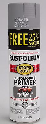 Rust-Oleum 2081830 Flat Light Gray Auto Primer Stops Rust Spray Paint, 12-Ounce,