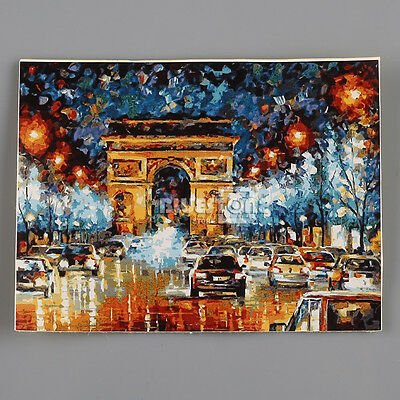 16''x20'' Triumphal Arch Light Night Street Oil Painting DIY Paint By Number