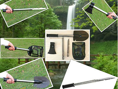 4 in1 Survival Camping Hiking Shovel Axe Saw-Emergency Kit -Hunting Tools-X14