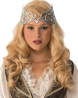 Royal Medieval Celtic Silver Queen Princess Crown with Ties Renaissance Costume